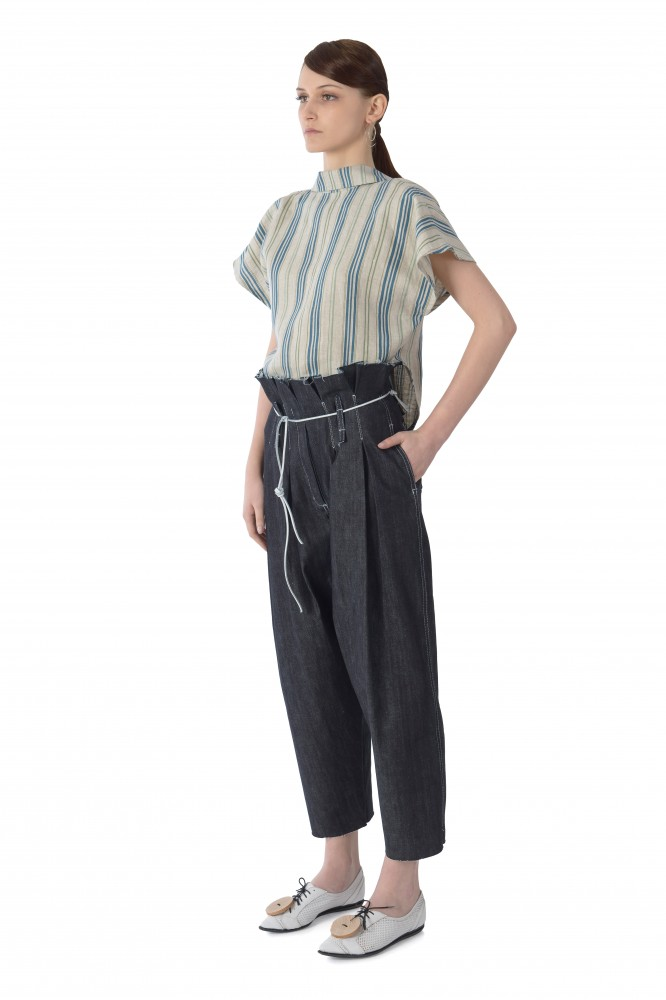 Pleated front dark denim