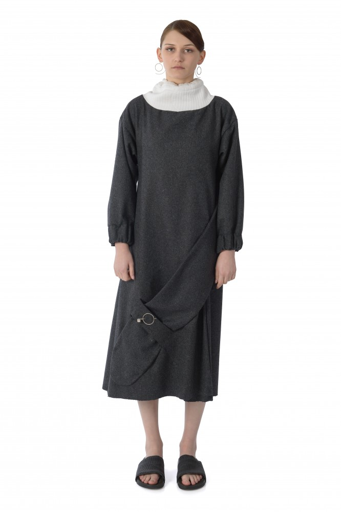 Oversized fold wool dress